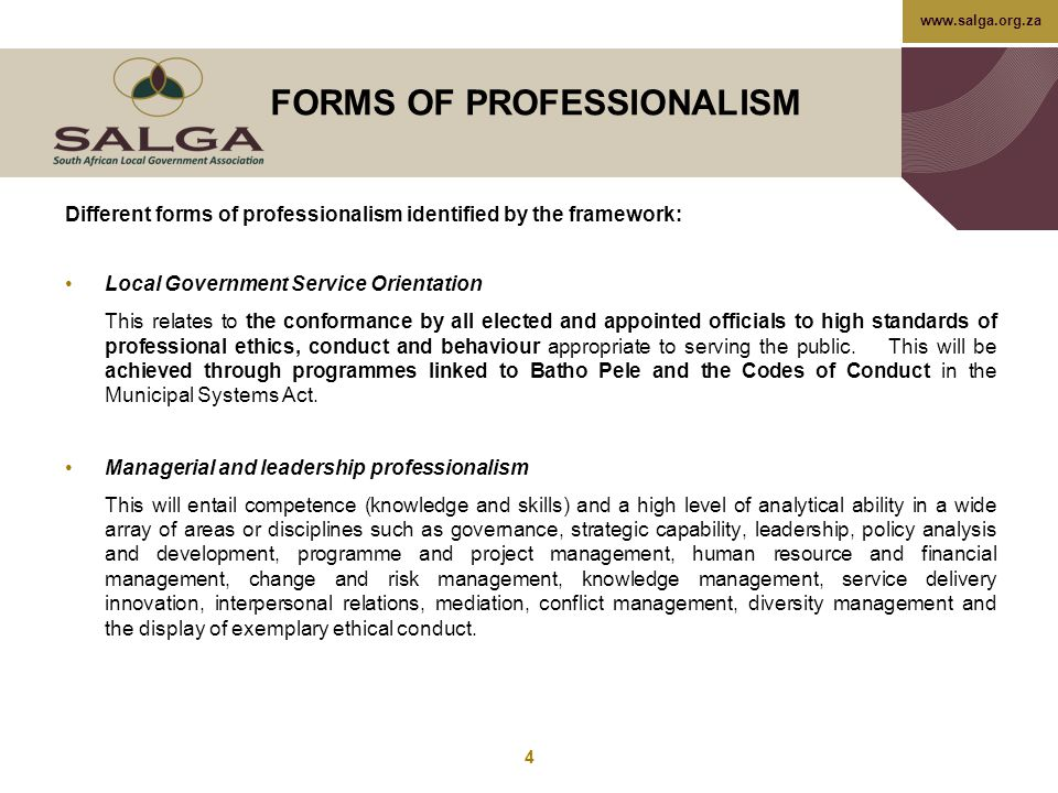 FORMS OF PROFESSIONALISM