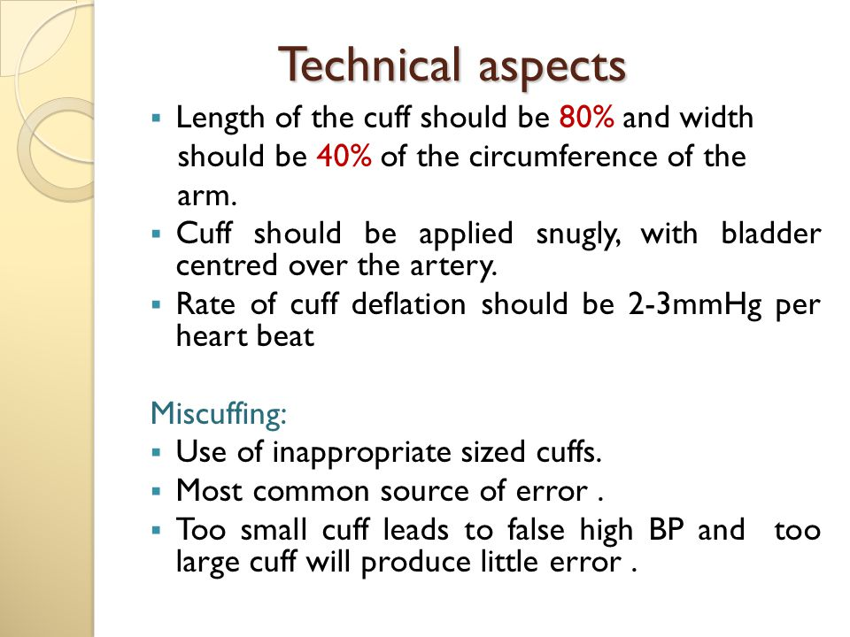 Technical aspects Length of the cuff should be 80% and width