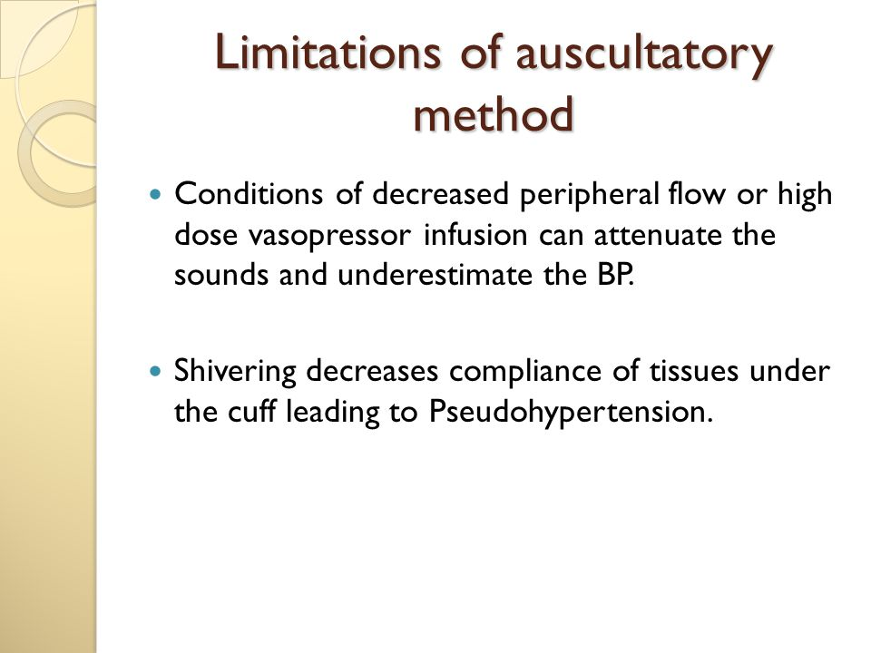 Limitations of auscultatory method