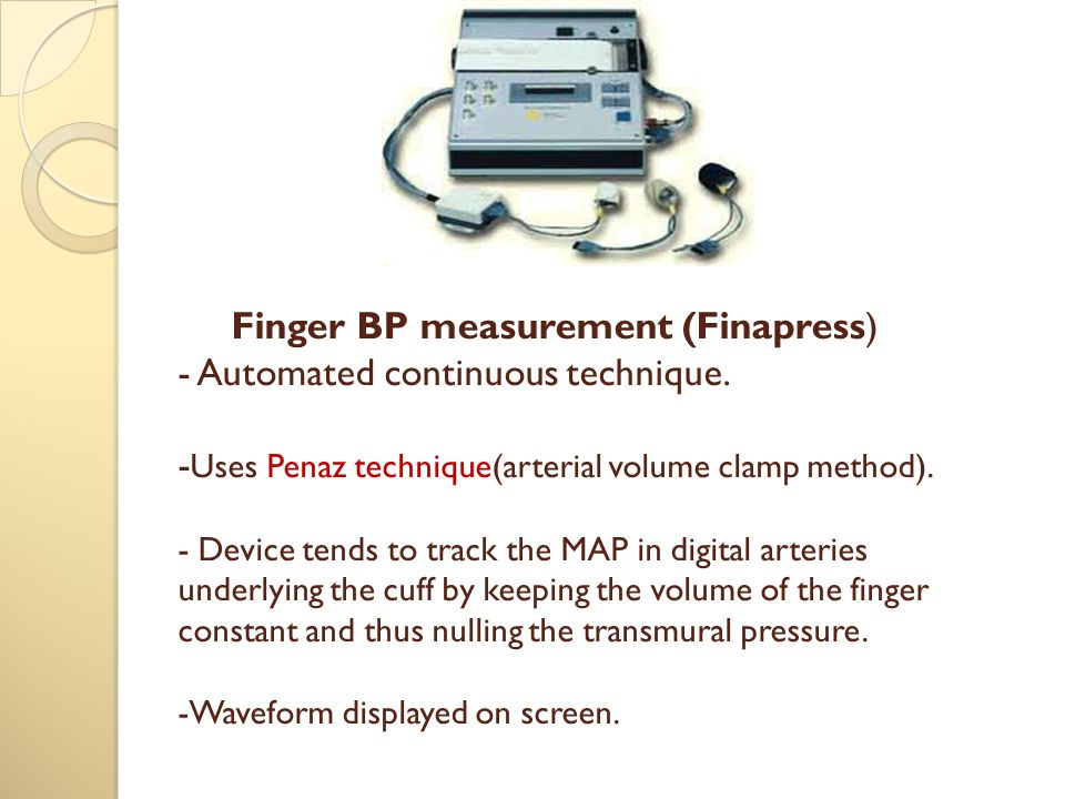 Finger BP measurement (Finapress) - Automated continuous technique