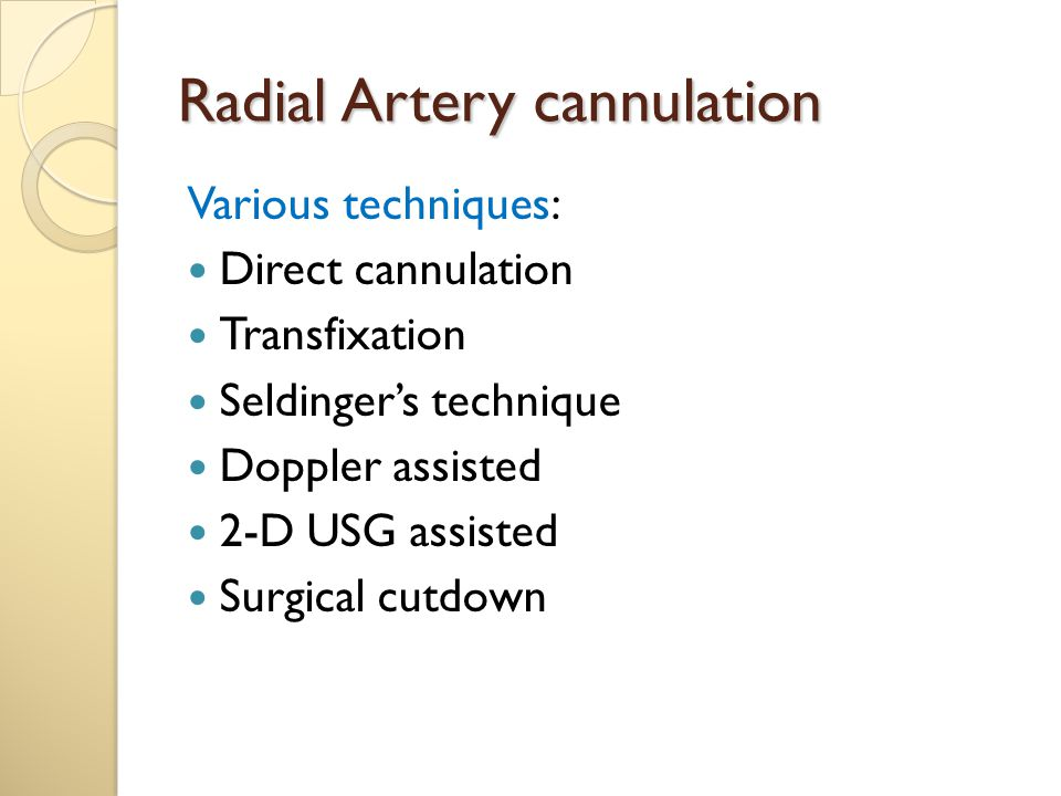 Radial Artery cannulation