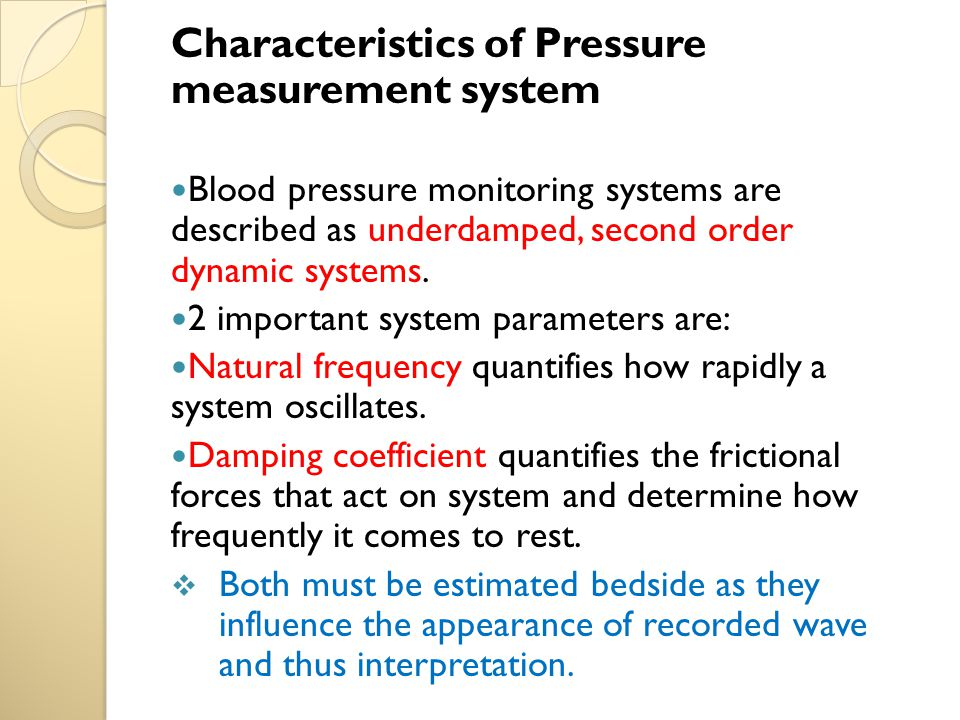 Characteristics of Pressure measurement system