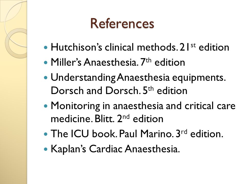 References Hutchison's clinical methods. 21st edition