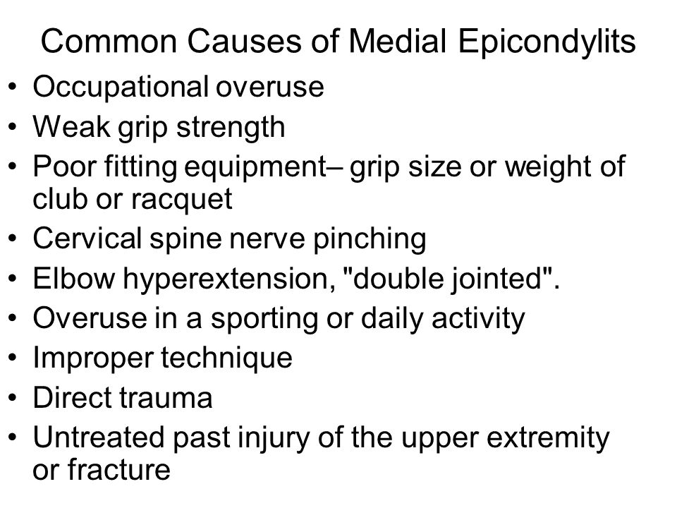 Common Causes of Medial Epicondylits
