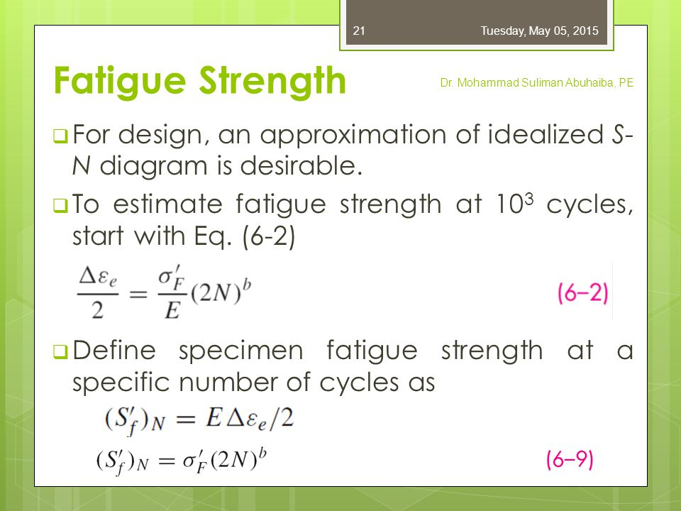 Friday, April 14, 2017 Fatigue Strength. Dr. Mohammad Suliman Abuhaiba, PE. For design, an approximation of idealized S-N diagram is desirable.
