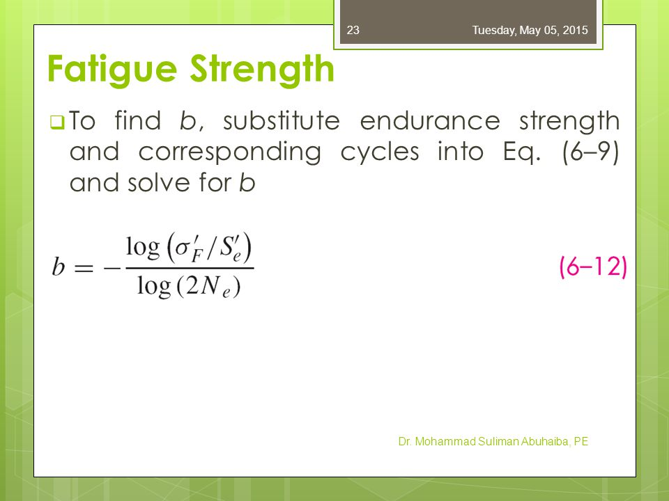 Friday, April 14, 2017 Fatigue Strength. To find b, substitute endurance strength and corresponding cycles into Eq. (6–9) and solve for b.