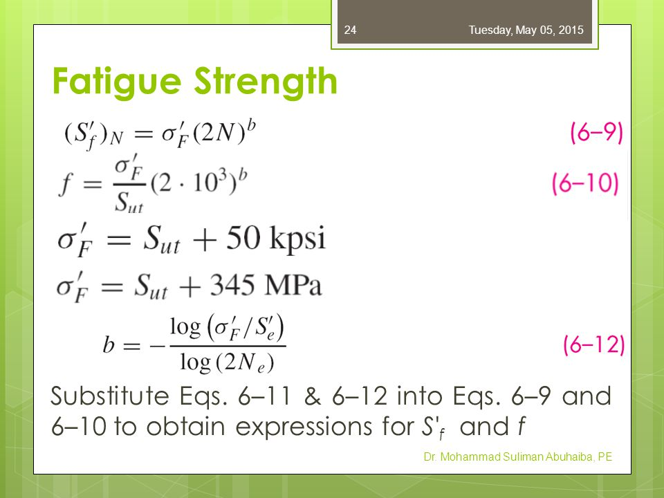 Friday, April 14, 2017 Fatigue Strength. Substitute Eqs. 6–11 & 6–12 into Eqs. 6–9 and 6–10 to obtain expressions for S f and f.