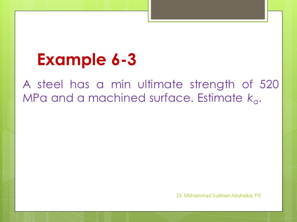 Example 6-3 A steel has a min ultimate strength of 520 MPa and a machined surface.