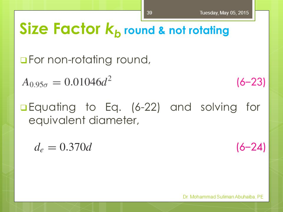 Size Factor kb round & not rotating