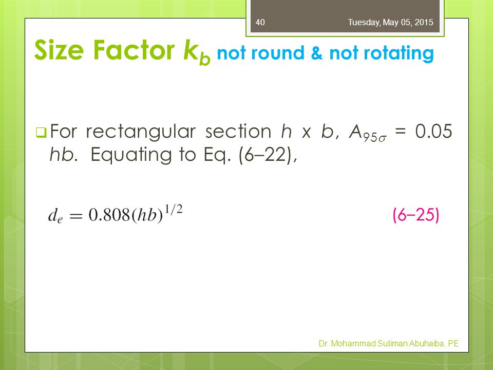 Size Factor kb not round & not rotating