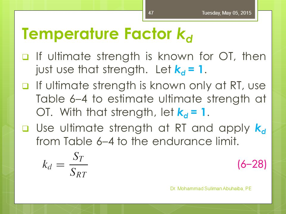 Friday, April 14, 2017 Temperature Factor kd. If ultimate strength is known for OT, then just use that strength. Let kd = 1.