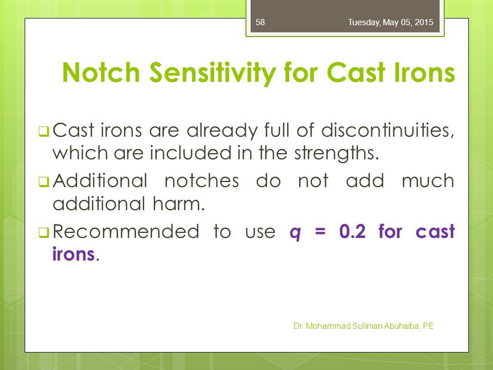 Notch Sensitivity for Cast Irons