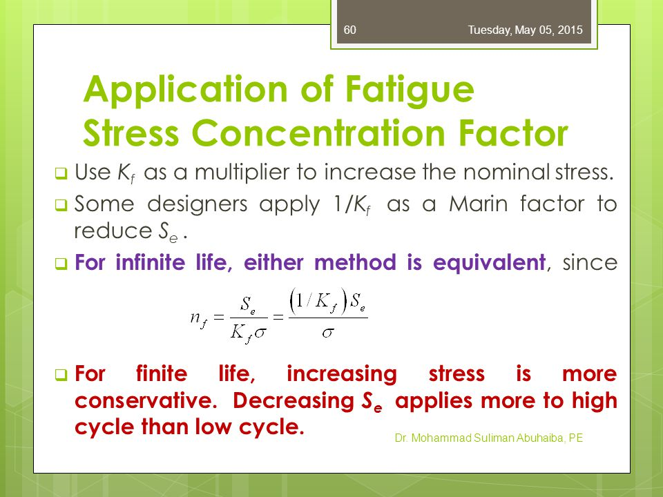 Application of Fatigue Stress Concentration Factor