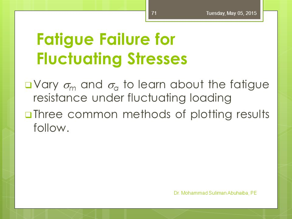 Fatigue Failure for Fluctuating Stresses