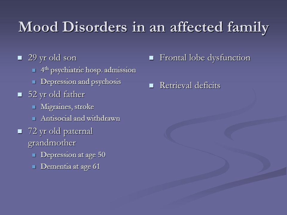 Mood Disorders in an affected family