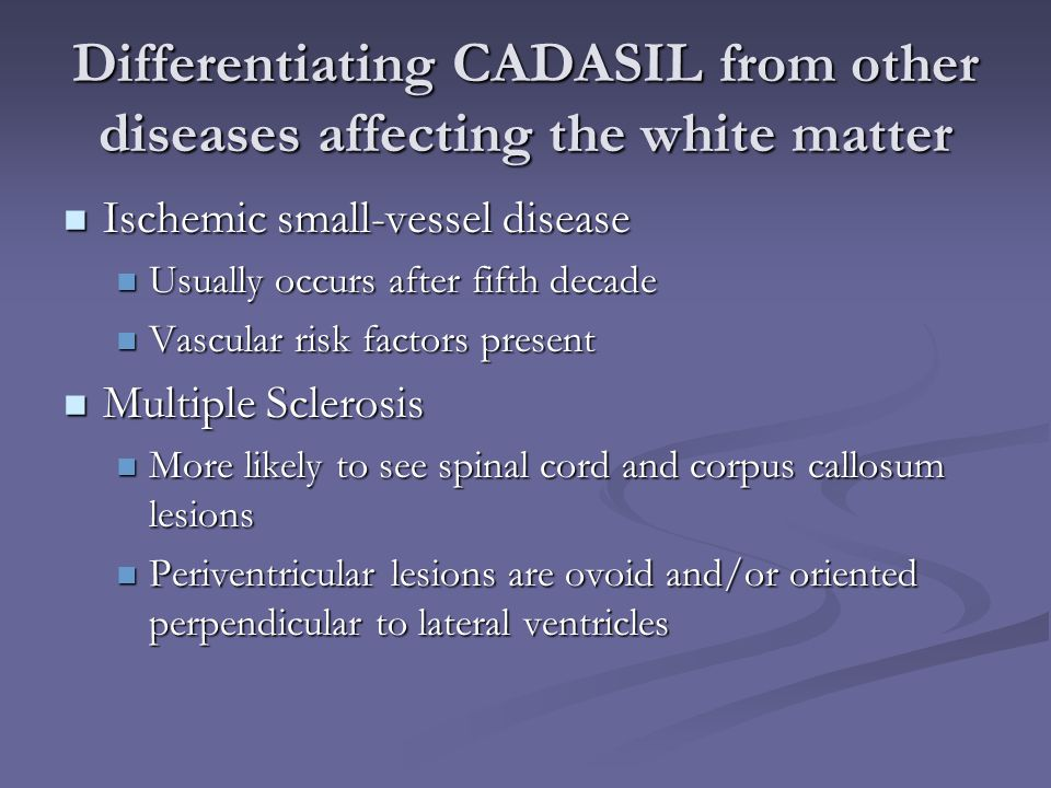 Differentiating CADASIL from other diseases affecting the white matter