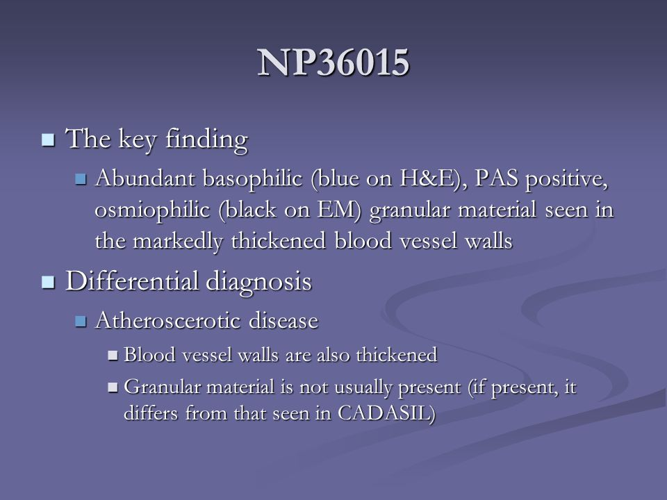 NP36015 The key finding Differential diagnosis