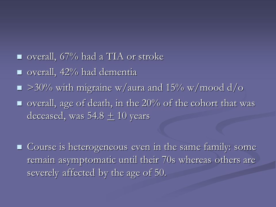 overall, 67% had a TIA or stroke