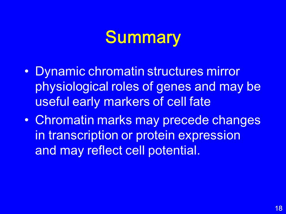 Summary Dynamic chromatin structures mirror physiological roles of genes and may be useful early markers of cell fate.