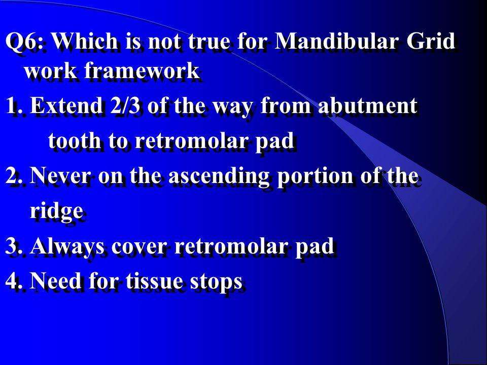 Q6: Which is not true for Mandibular Grid work framework