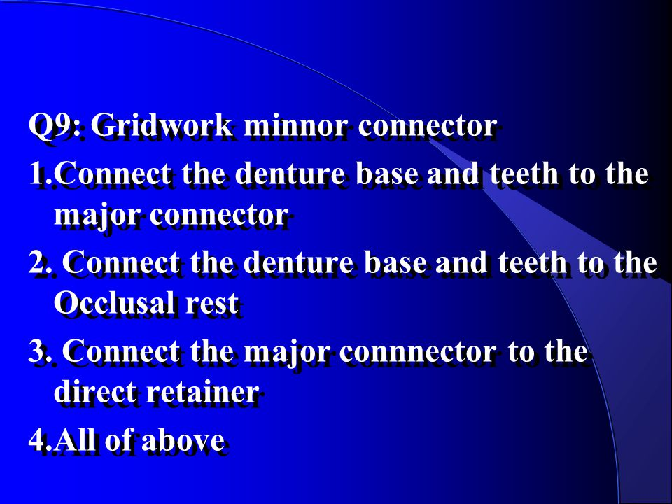 Q9: Gridwork minnor connector