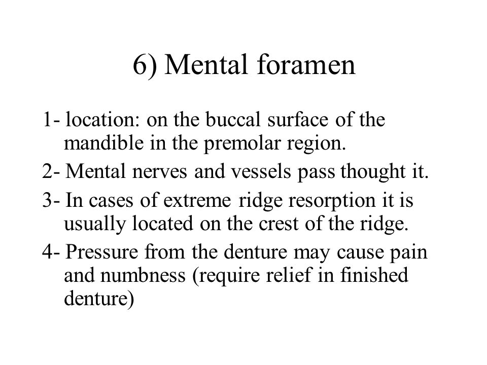 6) Mental foramen 1- location: on the buccal surface of the mandible in the premolar region.