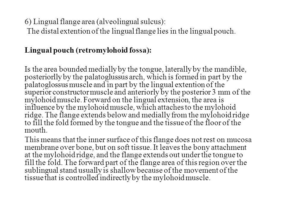 6) Lingual flange area (alveolingual sulcus):