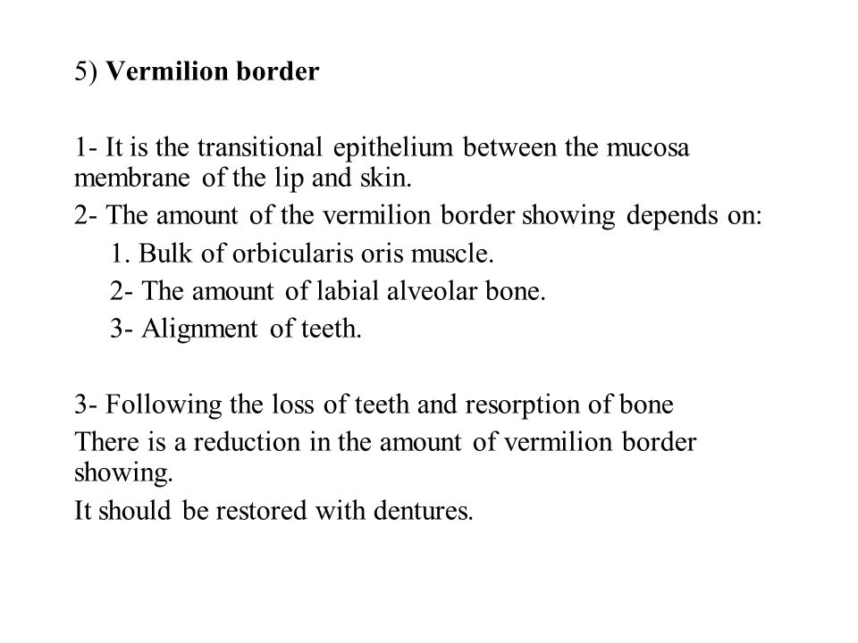 5) Vermilion border 1- It is the transitional epithelium between the mucosa membrane of the lip and skin.