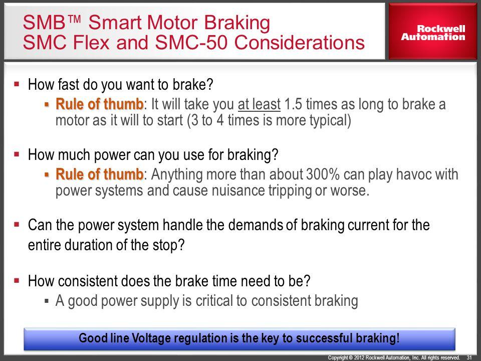 SMB™ Smart Motor Braking SMC Flex and SMC-50 Considerations