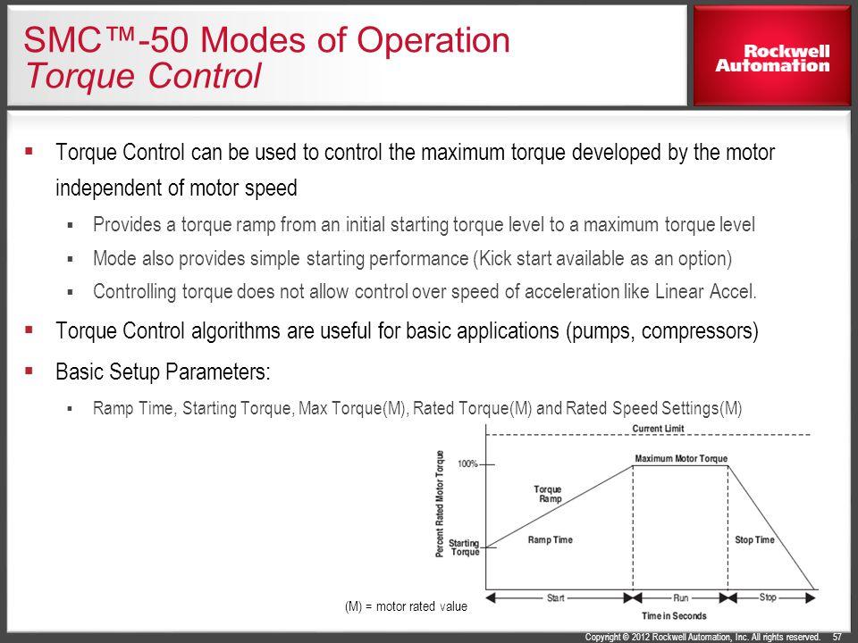 SMC™-50 Modes of Operation Torque Control
