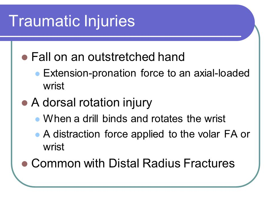 Traumatic Injuries Fall on an outstretched hand