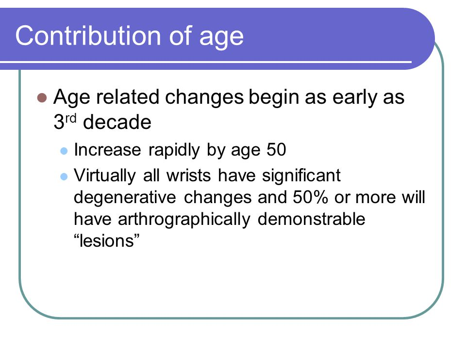Contribution of age Age related changes begin as early as 3rd decade