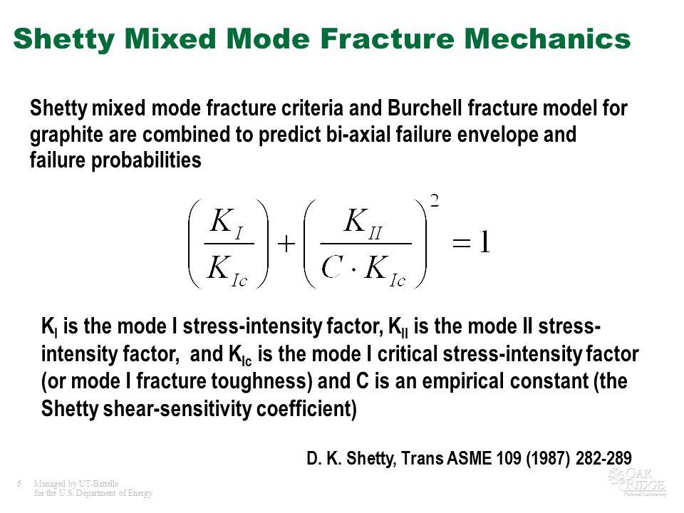 Shetty Mixed Mode Fracture Mechanics