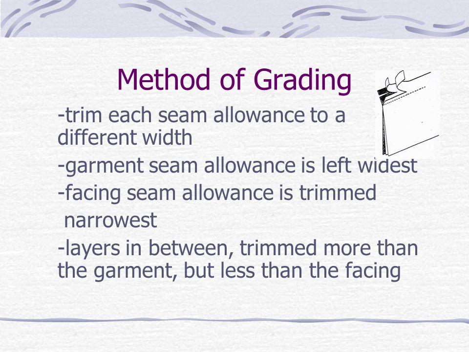 Method of Grading -trim each seam allowance to a different width