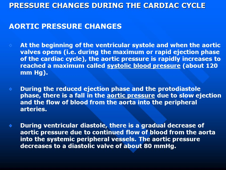 PRESSURE CHANGES DURING THE CARDIAC CYCLE AORTIC PRESSURE CHANGES