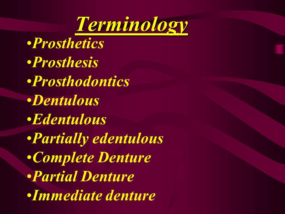 Terminology Prosthetics Prosthesis Prosthodontics Dentulous Edentulous