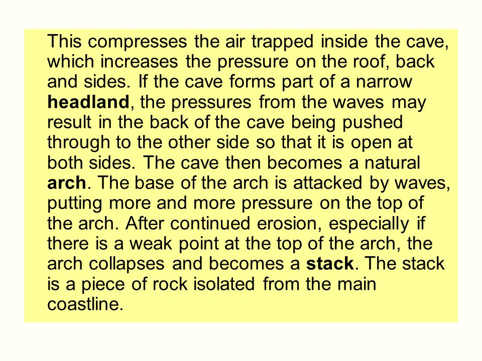 This compresses the air trapped inside the cave, which increases the pressure on the roof, back and sides.
