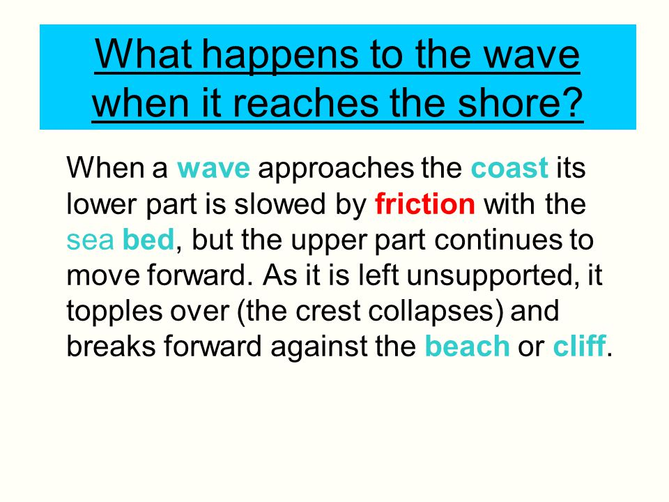 What happens to the wave when it reaches the shore