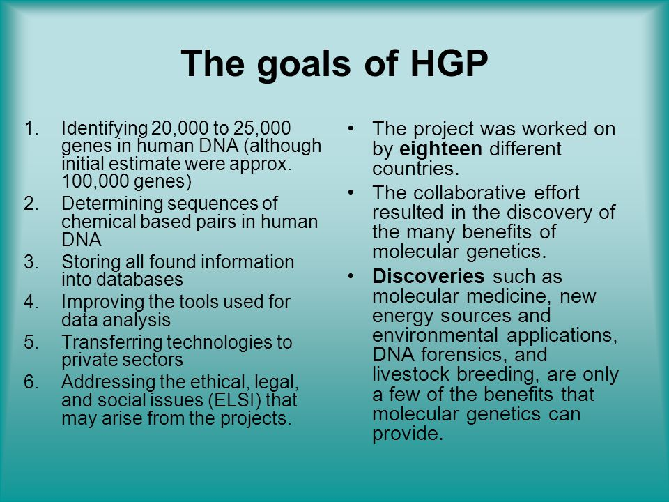 The goals of HGP Identifying 20,000 to 25,000 genes in human DNA (although initial estimate were approx. 100,000 genes)