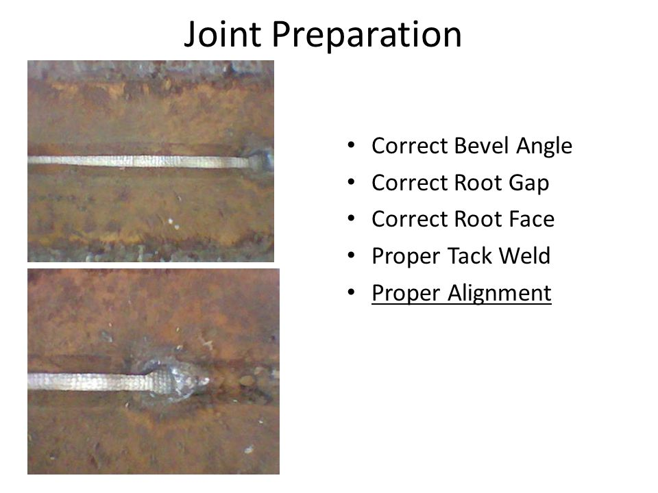 Joint Preparation Correct Bevel Angle Correct Root Gap