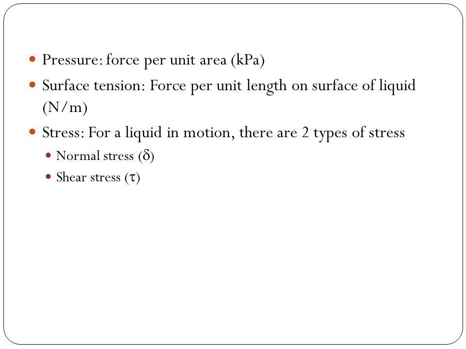 Pressure: force per unit area (kPa)