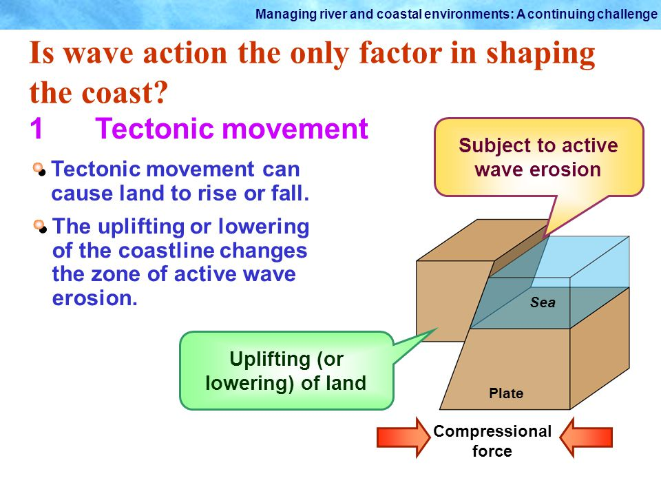 Subject to active wave erosion Uplifting (or lowering) of land