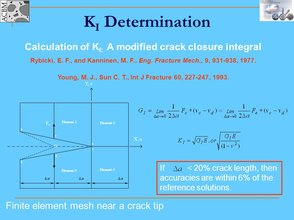 KI Determination Calculation of KI: A modified crack closure integral