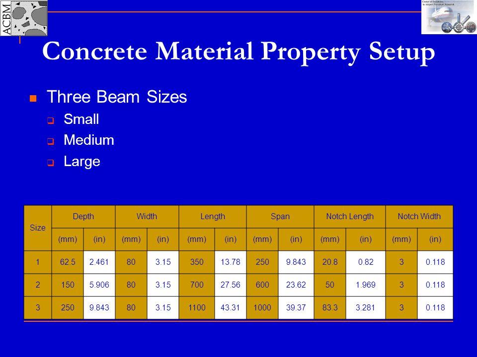 Concrete Material Property Setup