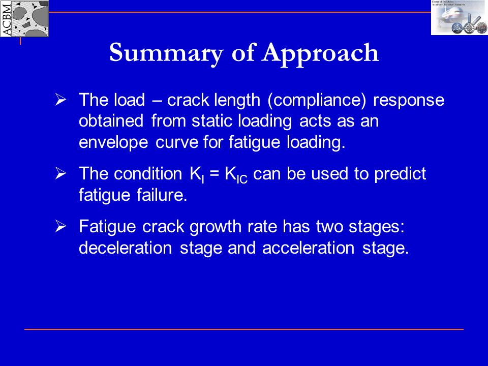 Summary of Approach The load – crack length (compliance) response obtained from static loading acts as an envelope curve for fatigue loading.