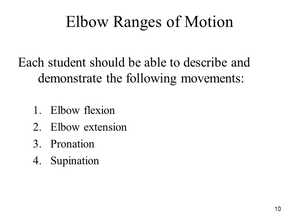 Elbow Ranges of Motion Each student should be able to describe and demonstrate the following movements: