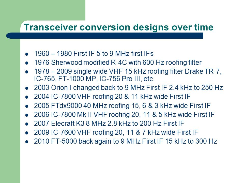 Transceiver conversion designs over time