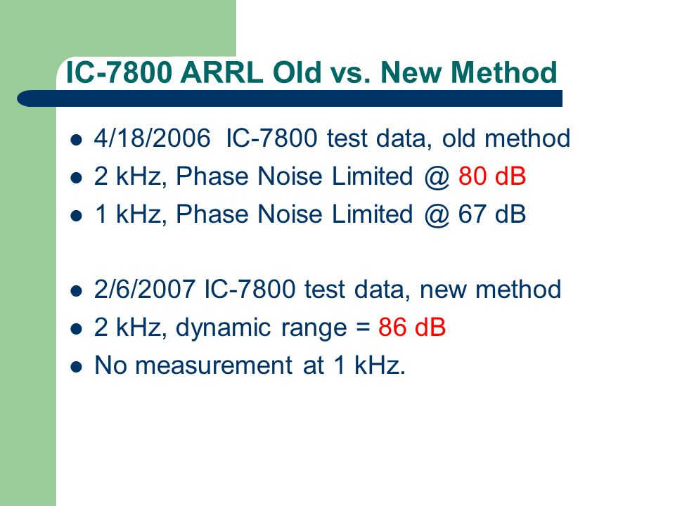 IC-7800 ARRL Old vs. New Method