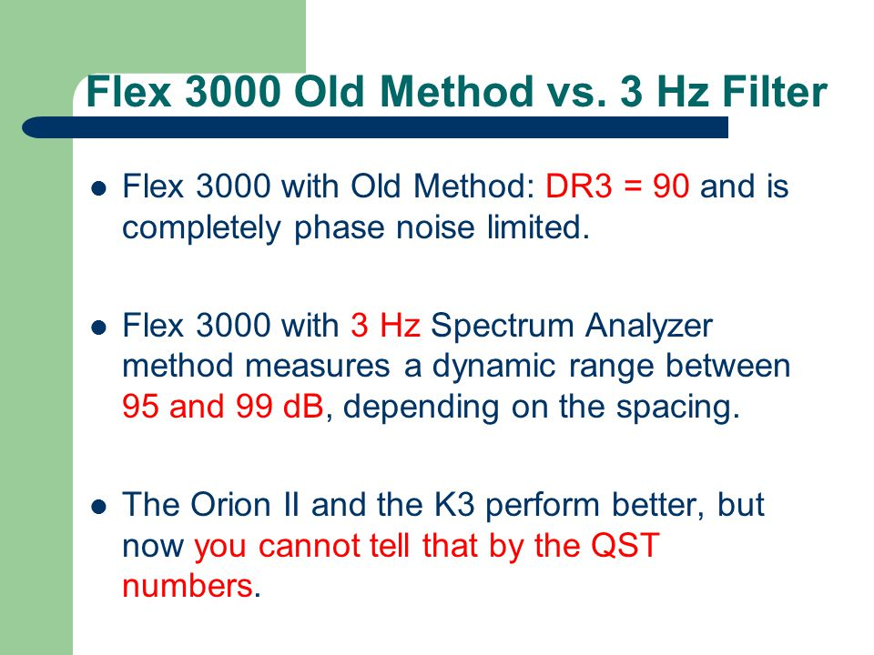 Flex 3000 Old Method vs. 3 Hz Filter