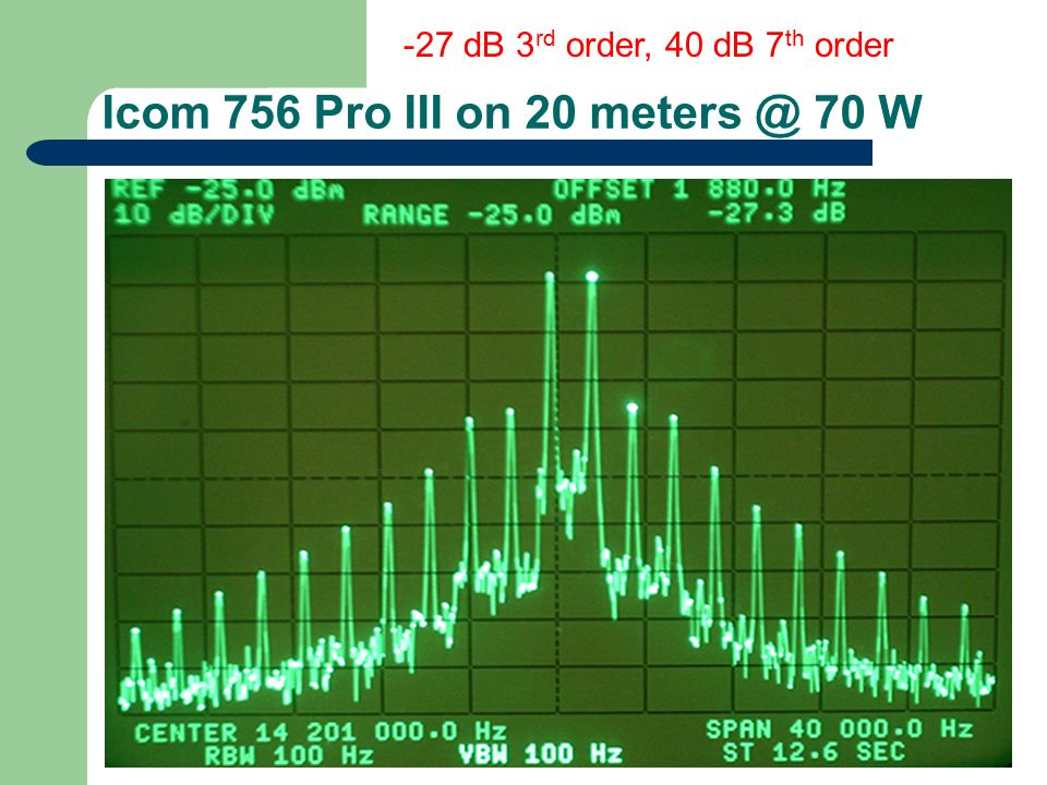 Icom 756 Pro III on 20 meters @ 70 W